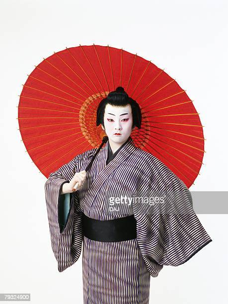 Portrait of a Kabuki actor with an umbrella, Front View