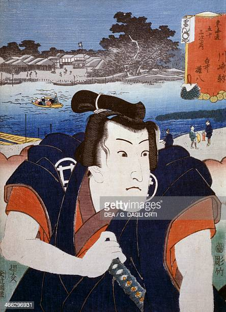 Portrait of a Kabuki theatre actor in front of Mount Fuji ukiyoe art print by Utagawa Toyokuni woodcut Japanese civilisation Edo period 17th19th...