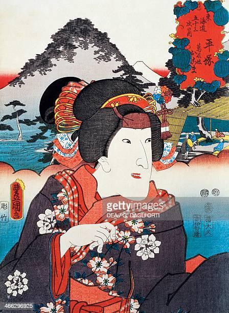 Portrait of a Kabuki theatre actress ukiyoe art print by Utagawa Toyokuni woodcut Japanese civilisation Edo period 17th19th century