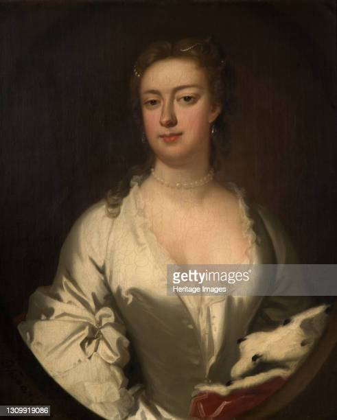 Portrait Of A Lady In White And Ermine, 1738. Artist Isaac Whood. .