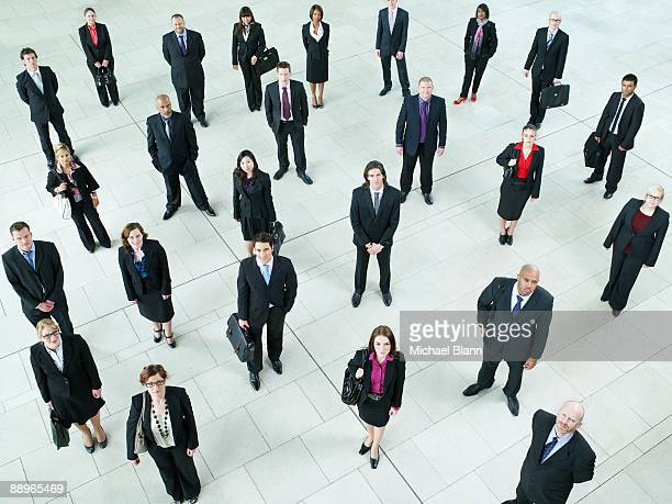 portrait of a large crowd of business people - large group of people stock pictures, royalty-free photos & images