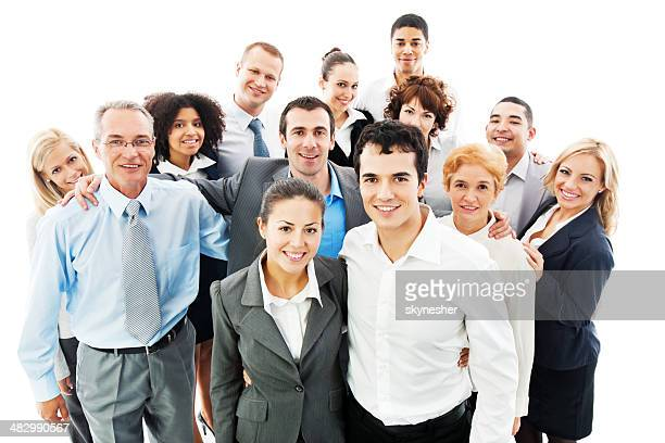 Portrait of a large group business people.