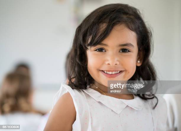 portrait of a latin american girl looking very happy - children only stock pictures, royalty-free photos & images