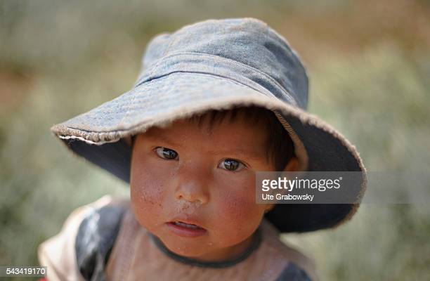 Portrait of a little girl a farmer's child in the Andes of Bolivia on April 15 2016 in Sacaca Bolivia