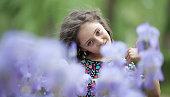 portrait little girl public park
