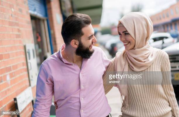 portrait of a loving muslim couple - muslim couple stock pictures, royalty-free photos & images