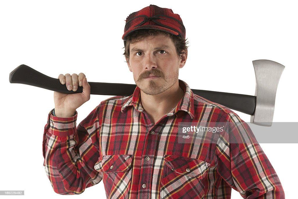 portrait of a lumberjack with an axe stock photo getty