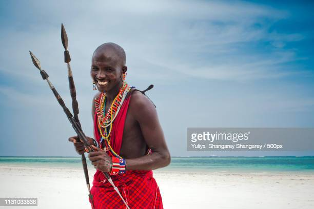 portrait of a maasai warrior - mombasa stock photos and pictures
