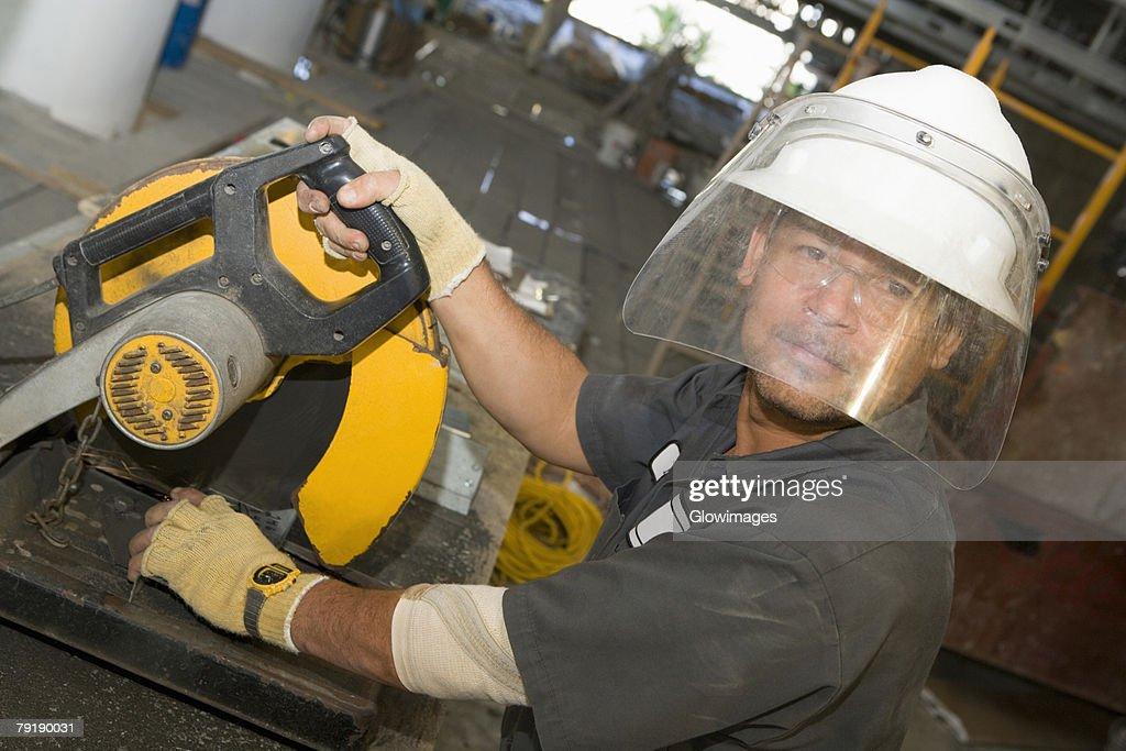 Portrait of a male construction worker working : Foto de stock