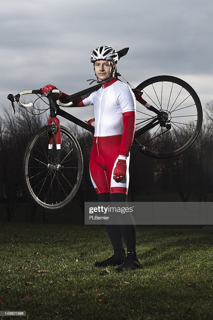 Portrait of a male cyclo-cross racer. : Stock Photo