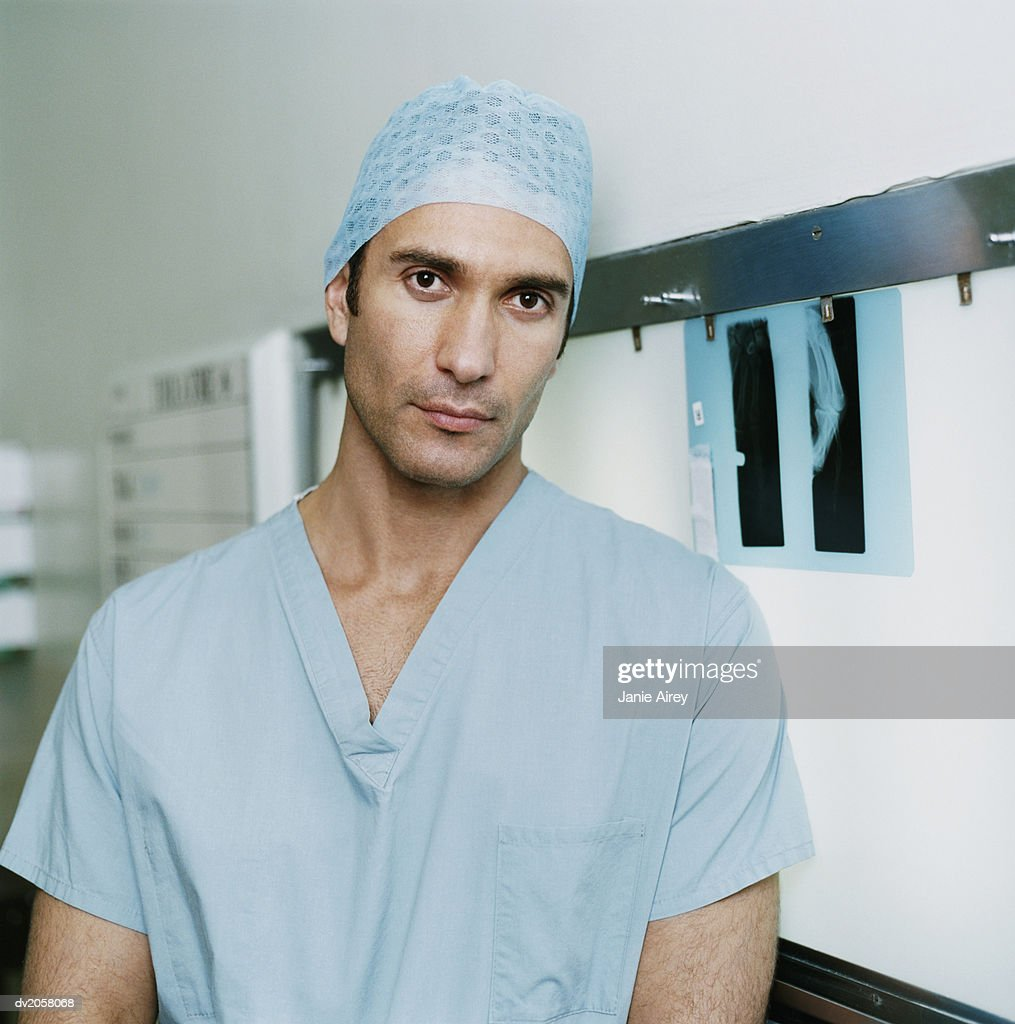 Portrait of a Male Doctor in Operating Outfit : Foto stock