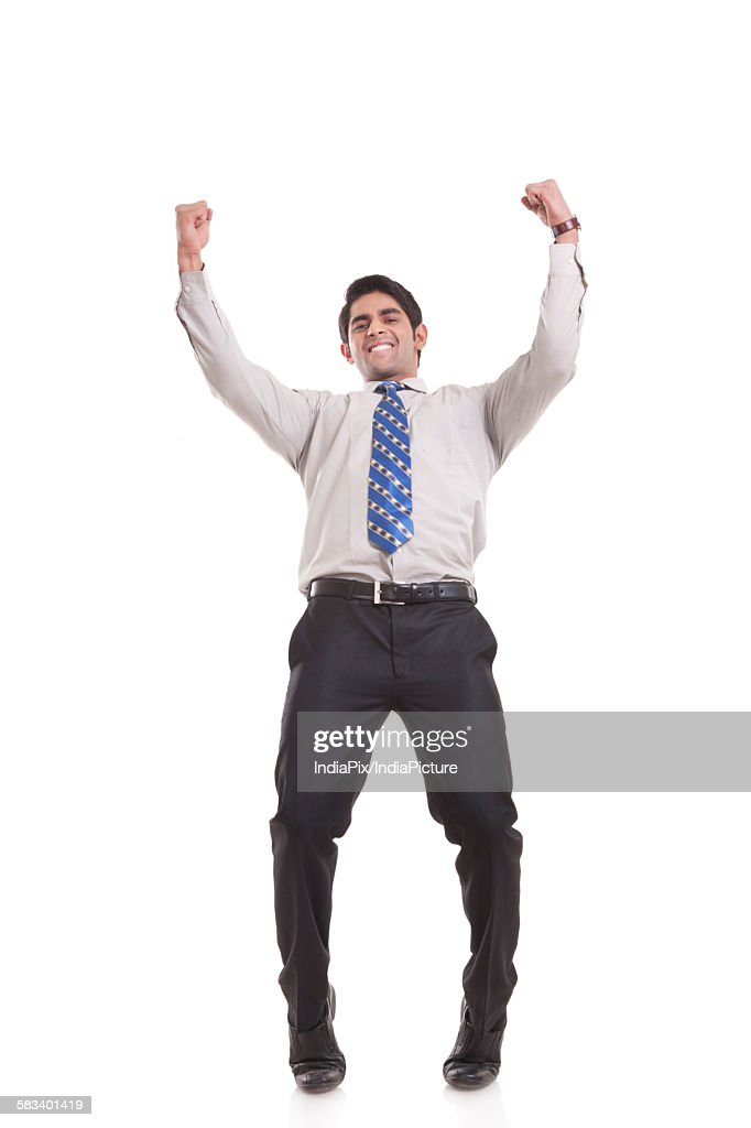 Portrait of a male executive rejoicing : Stock Photo