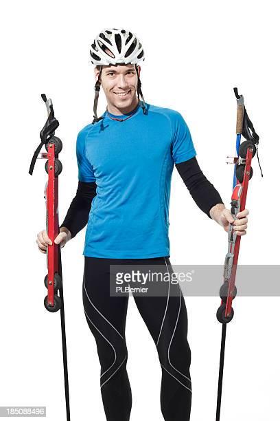 Porträt eines männlichen roller Skifahrer.
