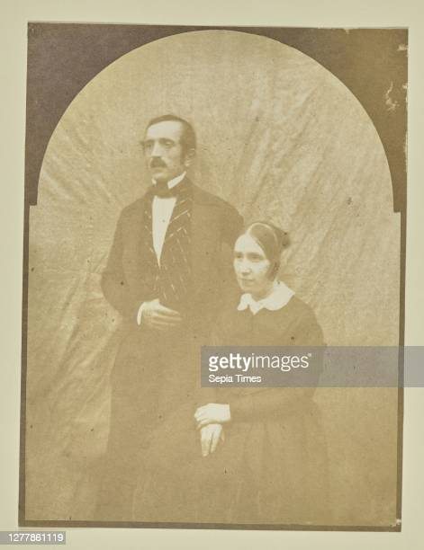 Portrait of a man and woman; Hippolyte Bayard ; about 1840 - 1849; Salted paper print; 16.2 x 12.1 cm .