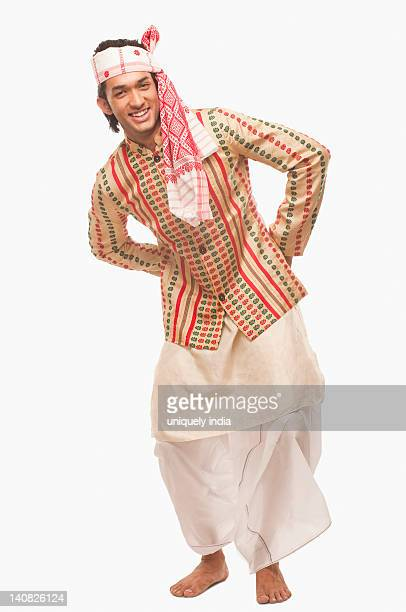 Portrait of a man dancing on Bihu festival