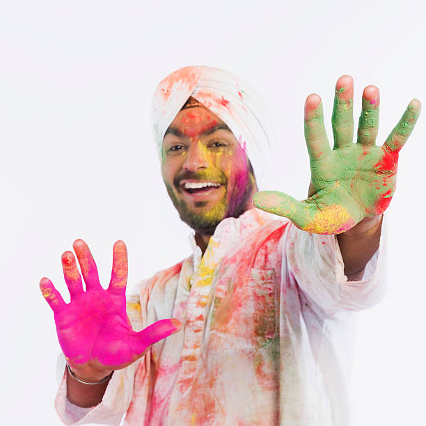Portrait of a man dancing on Holi