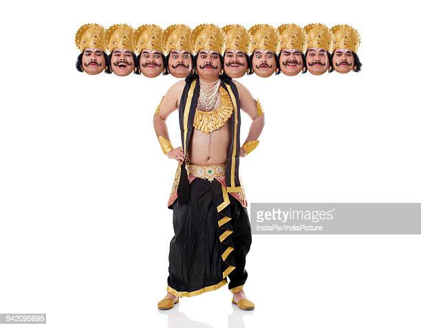 Portrait of a man dressed as Raavan