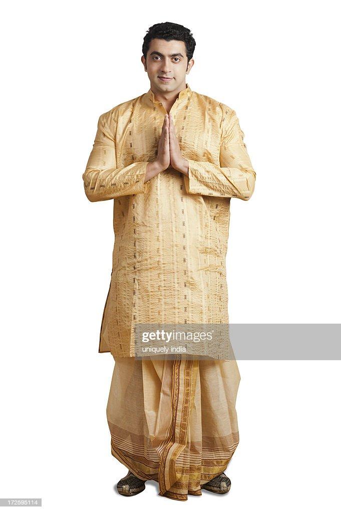 Portrait of a man greeting : ストックフォト