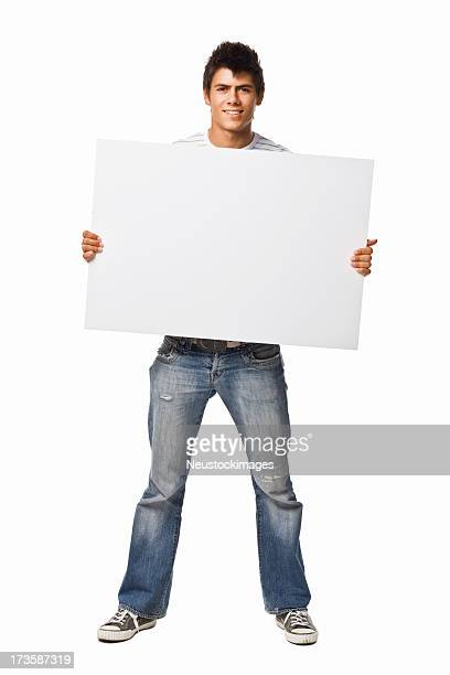 Portrait of a man holding white blank card
