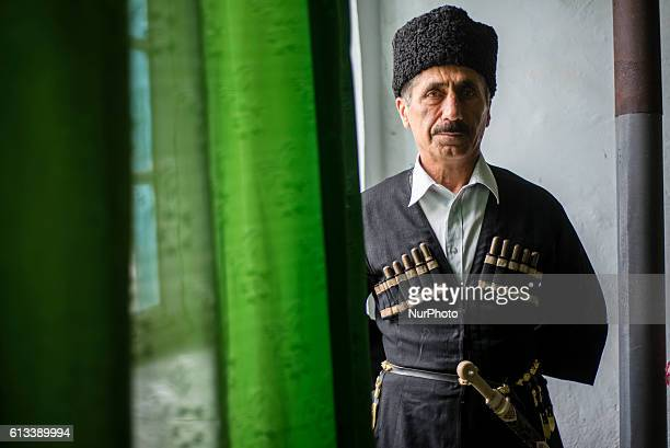 A portrait of a man in the traditional clothes Chokha and Papakha at Gil village Qusar district Azerbaijan on 6 October 2016