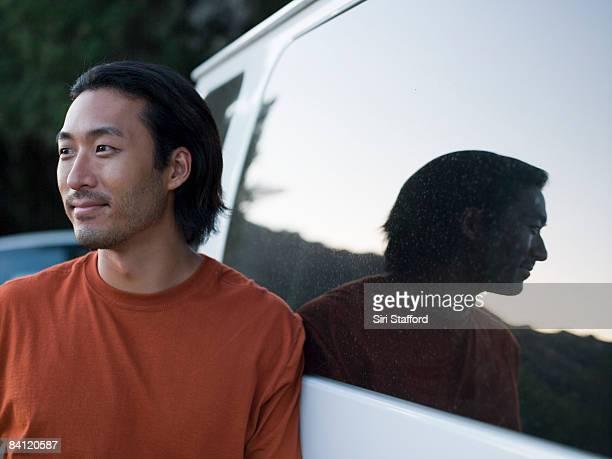 Porträt eines Mannes auf einen van