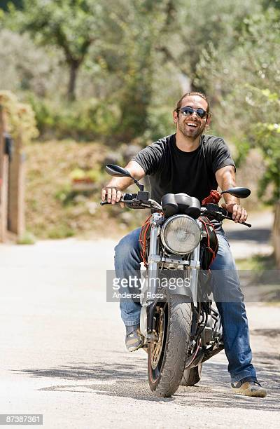 Portrait of a man on a motorcycle