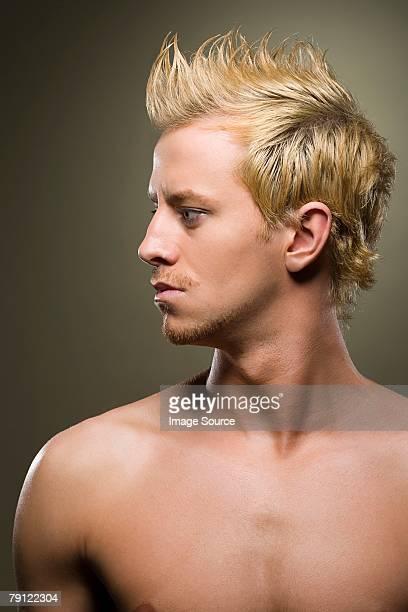 portrait of a man - naakte man en profiel stockfoto's en -beelden