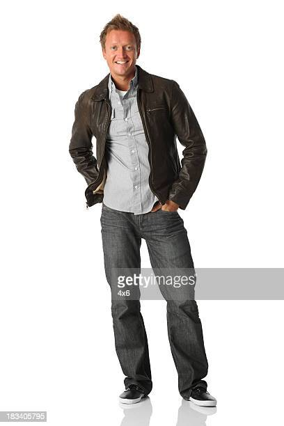笑顔、男性のポートレート - レザージャケット ストックフォトと画像