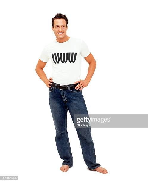 portrait of a man wearing a t-shirt with www on it