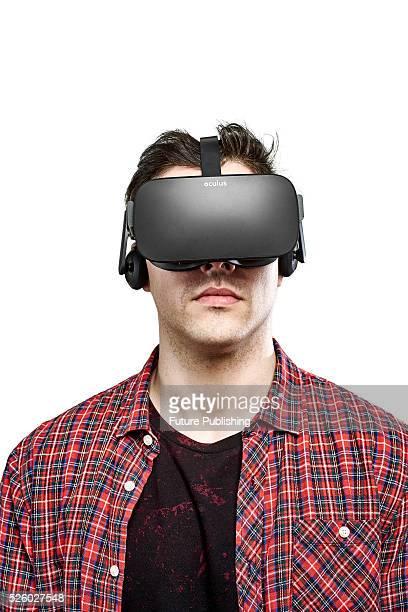Portrait of a man wearing an Oculus Rift virtual reality headset taken on April 13 2016
