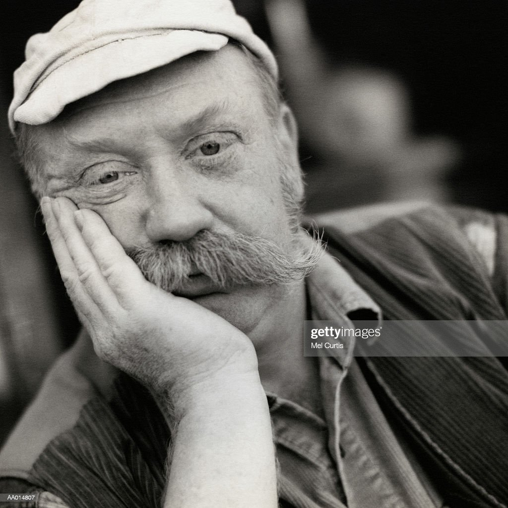 Portrait of a Man with a Mustache : Stock Photo