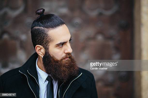 Hairstyles Mens Indian 2019: Man Bun Stock Photos And Pictures