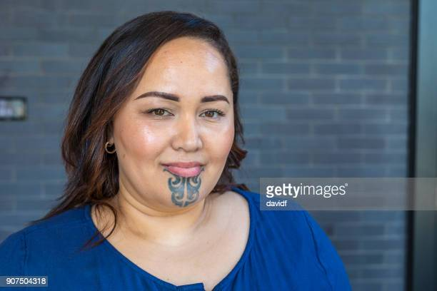 Portrait of a Maori Woman With a Face Tattoo or Moko