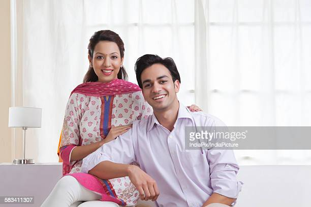 Portrait of a married couple smiling