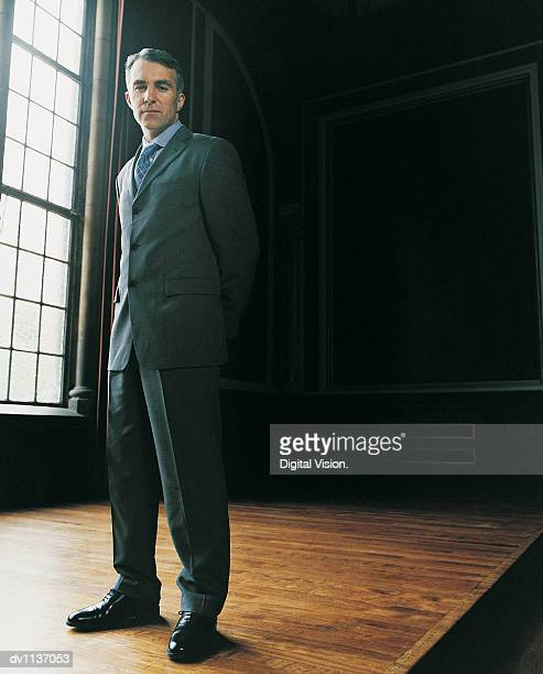portrait of a mature ceo standing in his home with his hands behind his back - 後ろ手 ストックフォトと画像