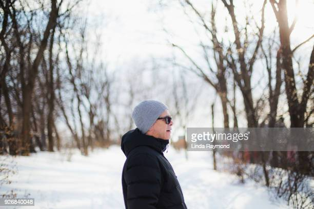 Portrait of a mature man during winter