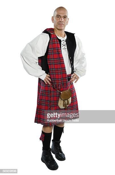 Portrait of a mature man wearing a kilt