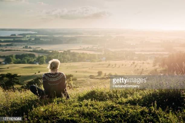portrait of a mature woman looking out over the countryside. - denmark stock pictures, royalty-free photos & images