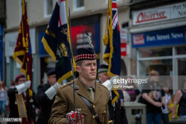 A portrait of a member of the Armed Forces as he marches during the event Stirling shows its support of the UK Armed Forces as part of the UK Armed...