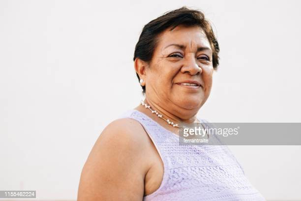 portrait of a mexican senior woman - mexican culture stock pictures, royalty-free photos & images