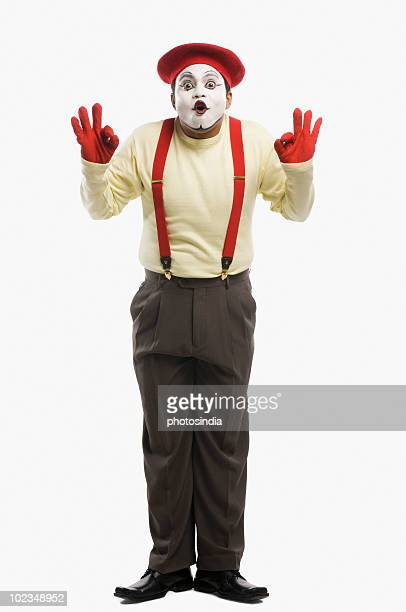 Portrait of a mime looking shocked