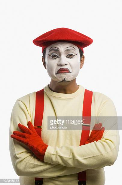 portrait of a mime sulking - sad clown stock photos and pictures