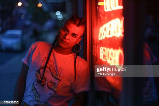 portrait of a mixed-race transgender person. - punk person stock pictures, royalty-free photos & images