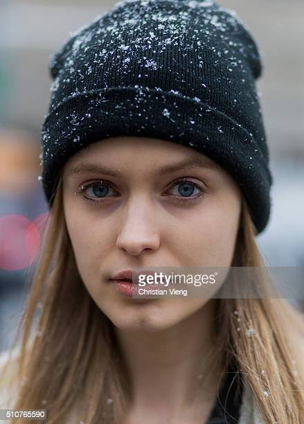 Portrait of a model wearing a black knit cap seen outside Phillip Lim during New York Fashion Week Women's Fall/Winter 2016 on February 15 2016 in...