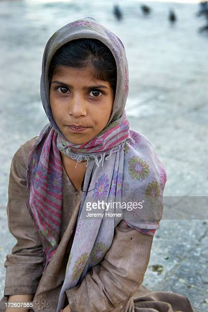 SRINAGAR KASHMIR JAMMU KASHMIR INDIA Portrait of a moslem girl at he Shah Hamdan Mosque or Shrine is situated on the right bank of the Jhelum River...