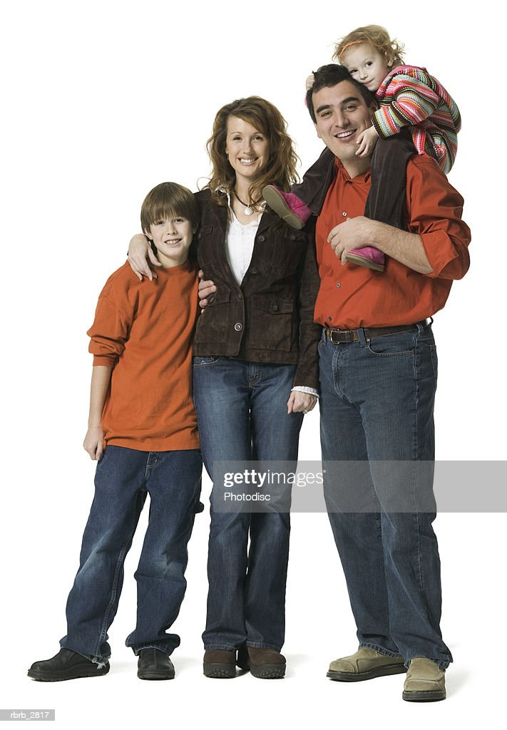 Portrait of a mother and father with their children : Foto de stock