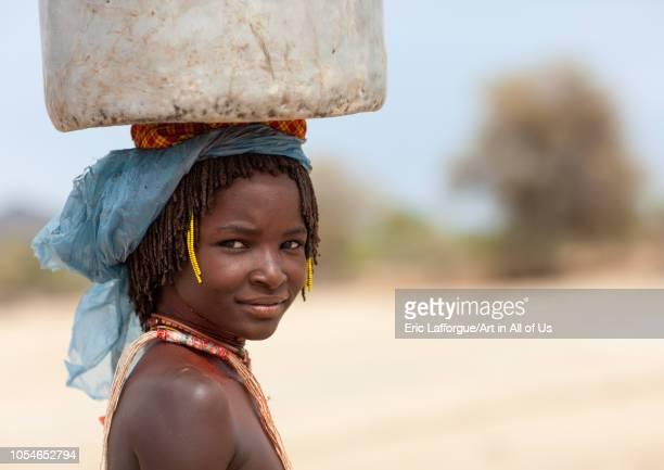 Portrait of a Mucubal tribe girl Namibe Province Virei Angola on November 25 2010 in Virei Angola