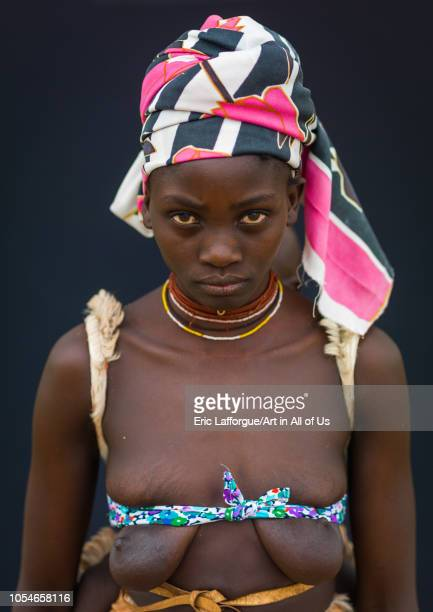 Portrait of a Mucubal tribe woman Namibe Province Virei Angola on November 25 2010 in Virei Angola