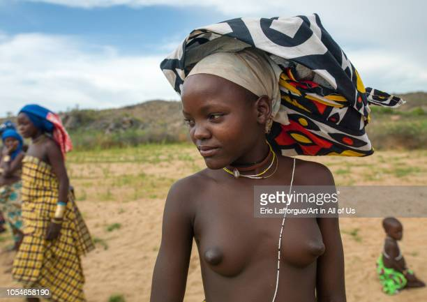 Portrait of a Mucubal tribe women wearing colorful headwears Namibe Province Virei Angola on November 27 2010 in Virei Angola