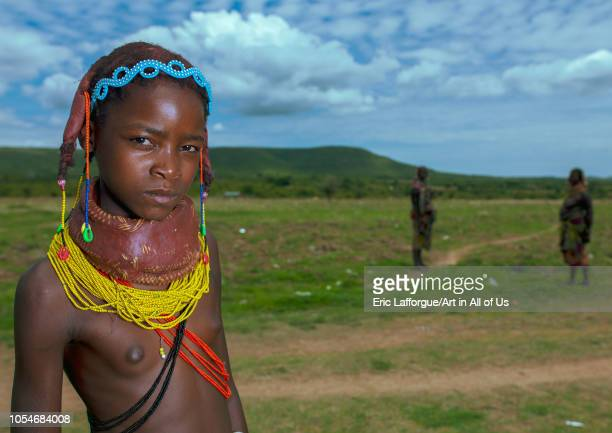 Portrait of a Mumuhuila tribe girl Huila Province Chibia Angola on December 3 2010 in Chibia Angola